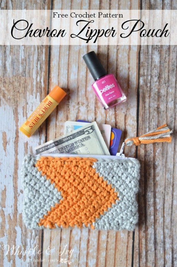 Free Crochet Pattern - Make this adorable chevron zipper pouch, quick and so fun…