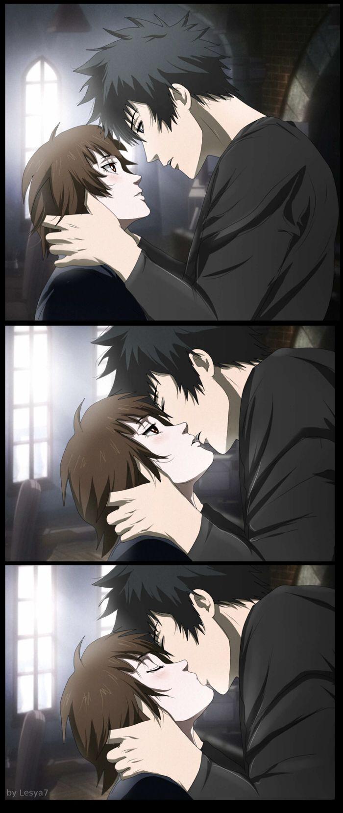 Psycho-pass 2: Kogami x Akane: A kiss by Lesya7.deviantart.com on @deviantART