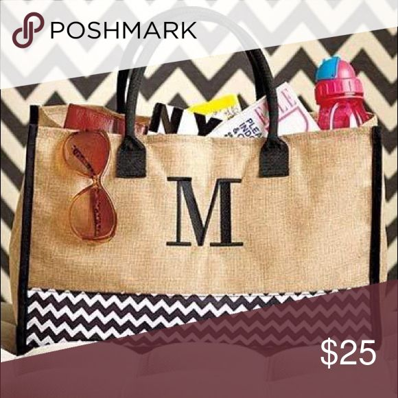 """Monogram Burlap Totes. Available in A, C, K & S. Trendy and stylish burlap monogram totes. These fashionable and functional totes make for great gifts. 17 1/2 W x 7 1/2 D x 17 1/2 H including the 6"""" handle drop. Available in A, C, K and S. Bags Totes"""
