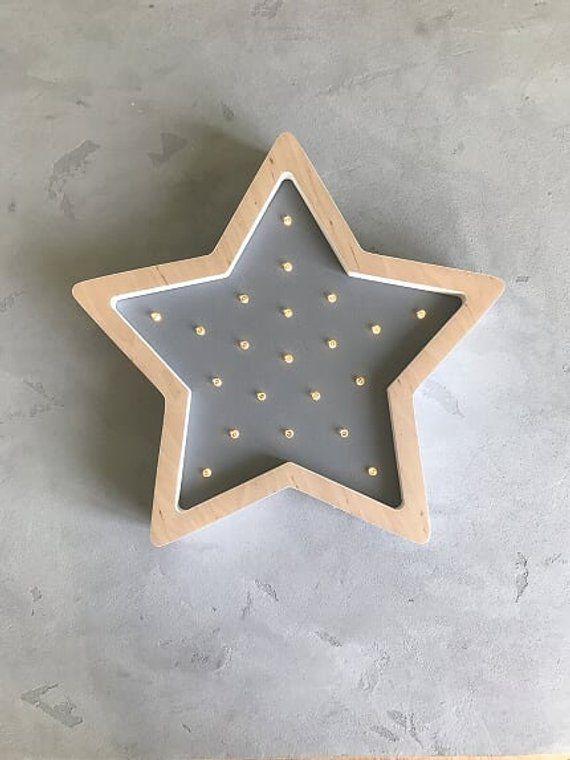 Wooden Night Light Led Black Star Baby Nursery Wall Lamps Kids Babies Decor Bedroom