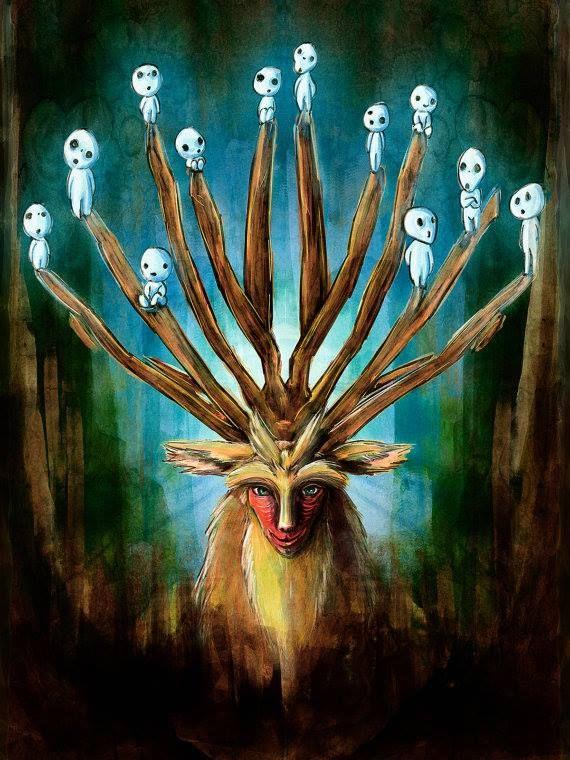 #FanArt El Espíritu del Bosque, un dios de la vida y la muerte... 'La princesa Mononoke'