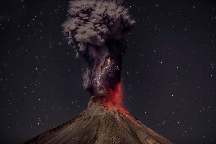 Colima volcano erupting, lightning caused by static electricity by rubbing particles of volcanic ash.