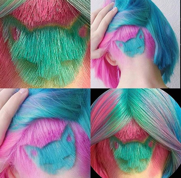 Amazing colorful cat face shaved into nape of neckback of