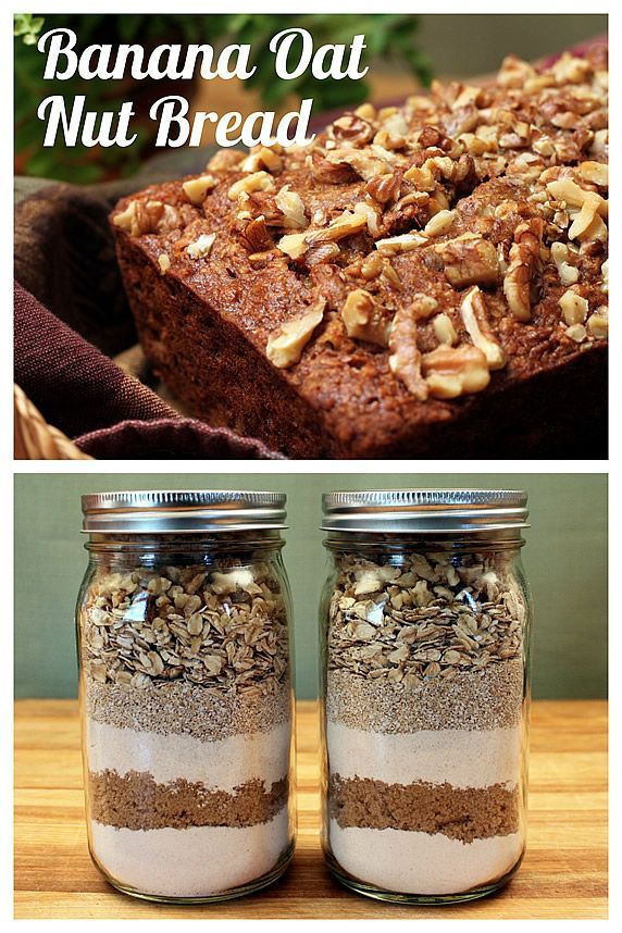 Banana Oat Nut Bread -- A hearty, multi-grain makeover that's low in fat & sugar. It makes a great gift jar mix, too.