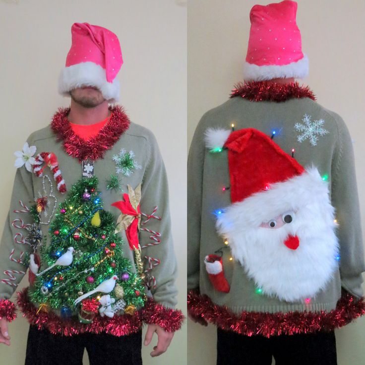 Double Sided, Light Up Christmas Sweater Garland 2 doves & a Pear Christmas Tree Front, Light Up Santa on Back Ugly Christmas Sweater Sz XL by tackyuglychristmas on Etsy