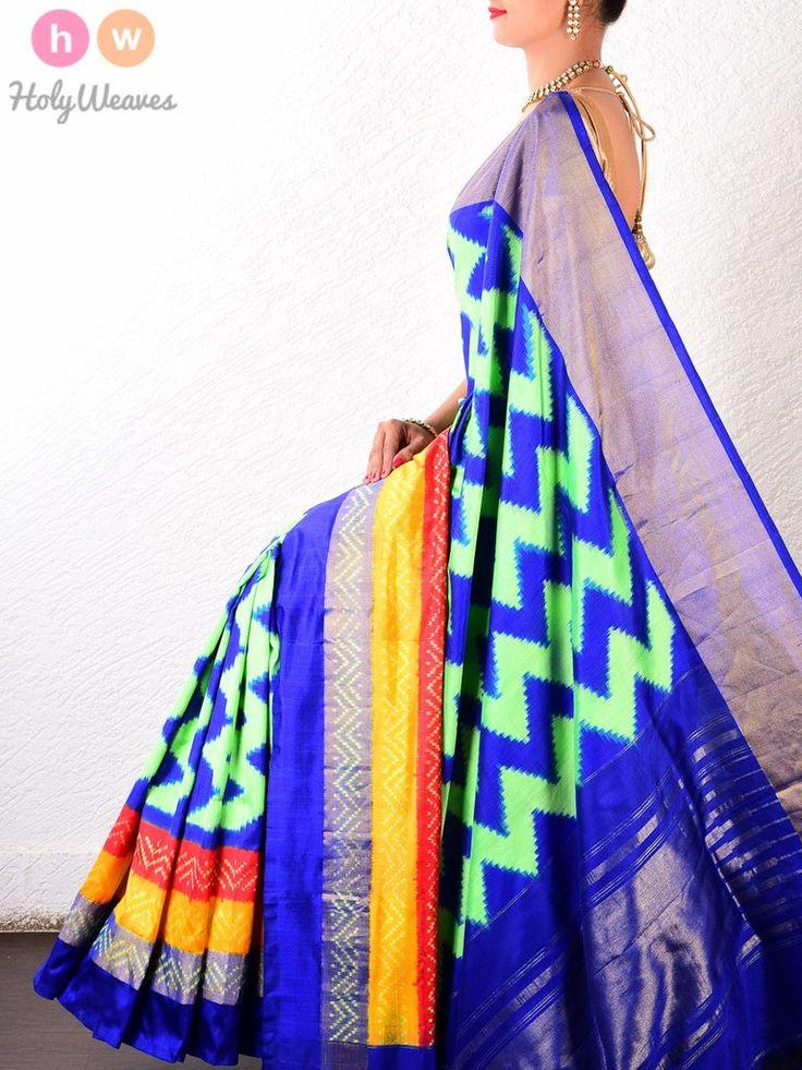 Blue-Green Silk Pochampally Handwoven Saree 1