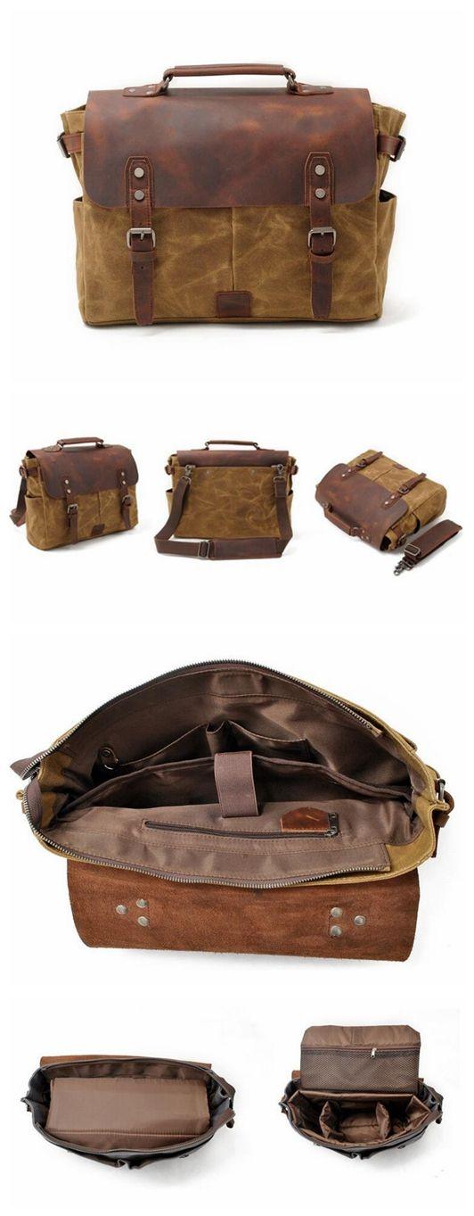 Vintage Canvas Leather Crossbody Bag,Messenger Bag