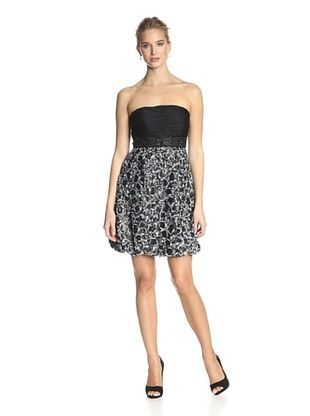 60% OFF Sue Wong Women's Strapless Dress with Embellished Skirt (Grey)