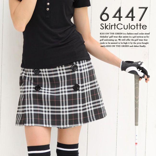 Check skirt culotte for golf