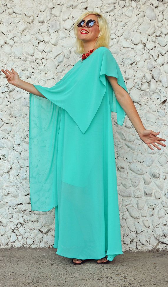 Turquoise Extravagant Kaftan / Elegant Loose Dress / Turquoise Summer Dress / Sheer Long Kaftan TDK190