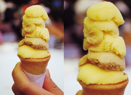 """""""Dirty Icecream"""" or """"Sorbetes"""" - That's what they call it in the Philippines. Sold by street vendors using a push cart. The cone """"apa"""" is kinda like a waffle cone but smaller without the grid texture. Really good!"""