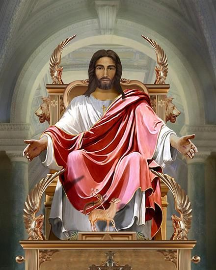 Image result for image of jesus on a golden throne in heaven