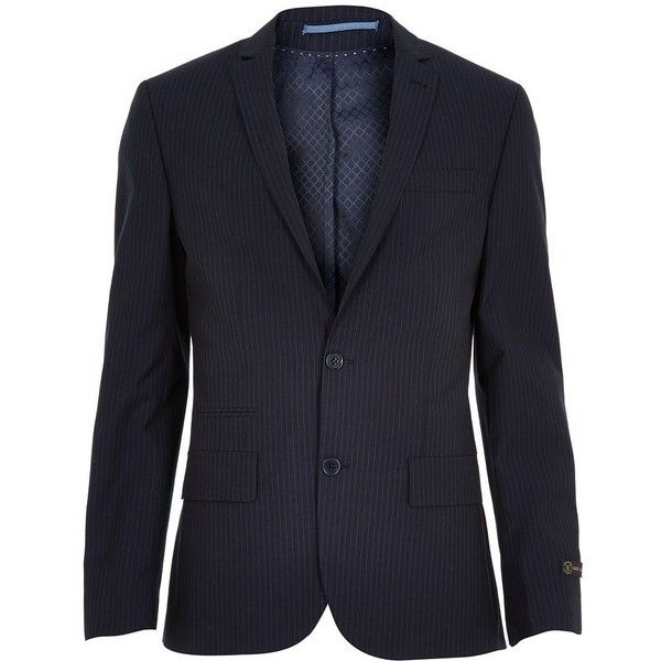 River Island Navy pinstripe slim suit jacket found on Polyvore featuring polyvore, men's fashion, men's clothing, men's outerwear, men's jackets, sale, mens navy jacket, mens tall jackets, mens formal jackets and mens tall outerwear