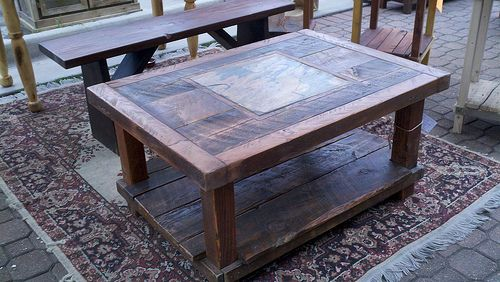 Barn Wood and Slate Coffee Table | Reclaimed Barn Wood & Natural Slate Coffee Table | Flickr - Photo Sharing!