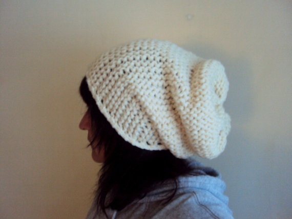 Hand Knit  Beige Big Slouchy  Hat Beanie Beret by GrahamsBazaar, $30.00