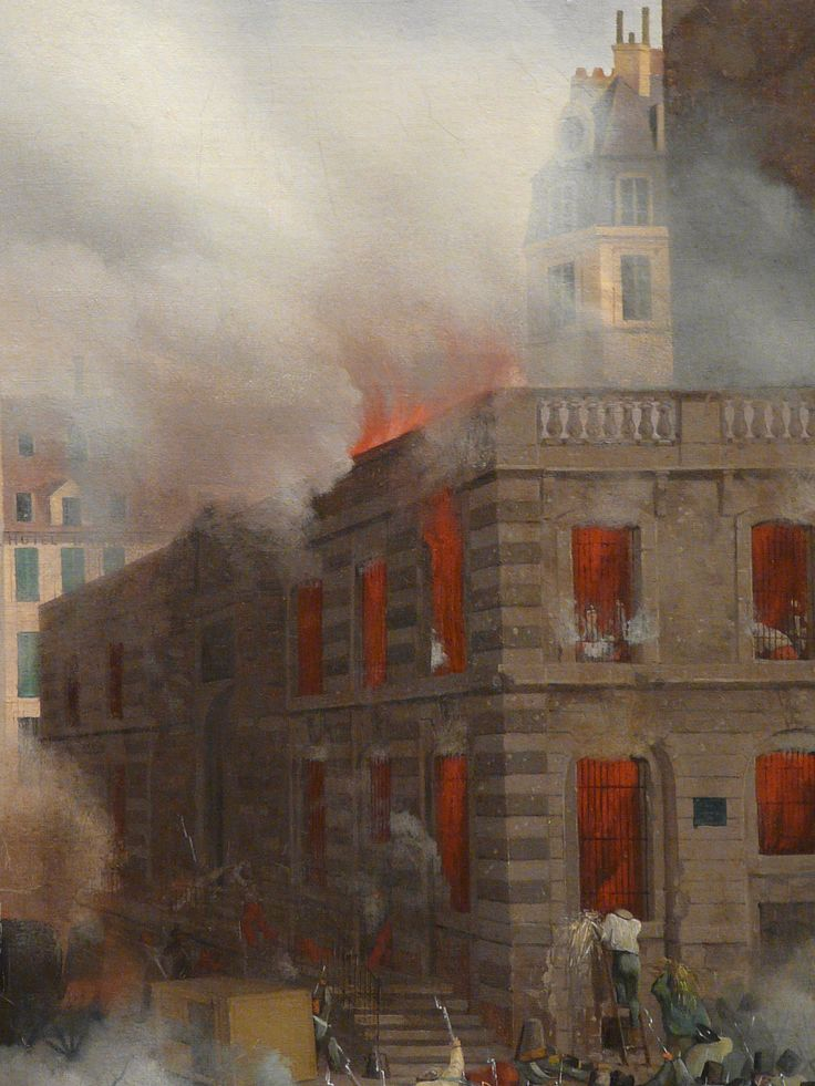 "HAGNAUER Eugène,1848 - Incendie du Château d'Eau, Place du Palais-Royal, le 24 février (Carnavalet) - Détail 18  -  TAGS / painter peintre details detail détails detalles painting paintings peinture ""peinture 19e"" ""19th-century paintings"" ""French paintings"" ""peinture française"" ""French painters"" ""peintres français"" tableaux Museum Paris France fire blaze death drame drama tragedy man men combat fight battle diligence coach town ville city Louis-Philippe abdication"