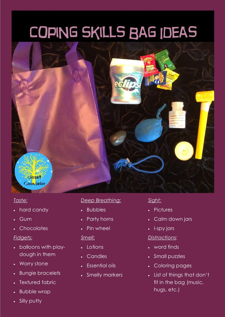 Coping skills bag ideas for play therapy or classrooms