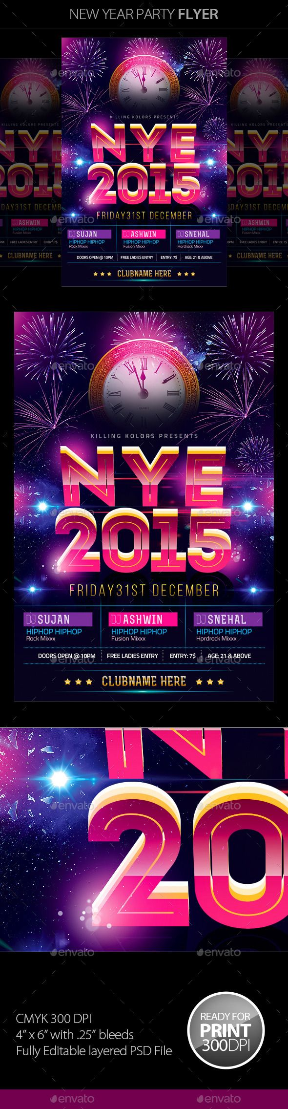 hip hop party new year poster