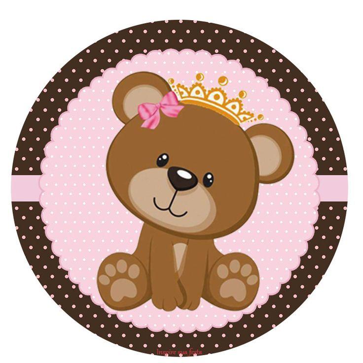 Ursinha Princesa Rosa e marrom – Kit digital gratuito – Blog Inspire sua Festa ®