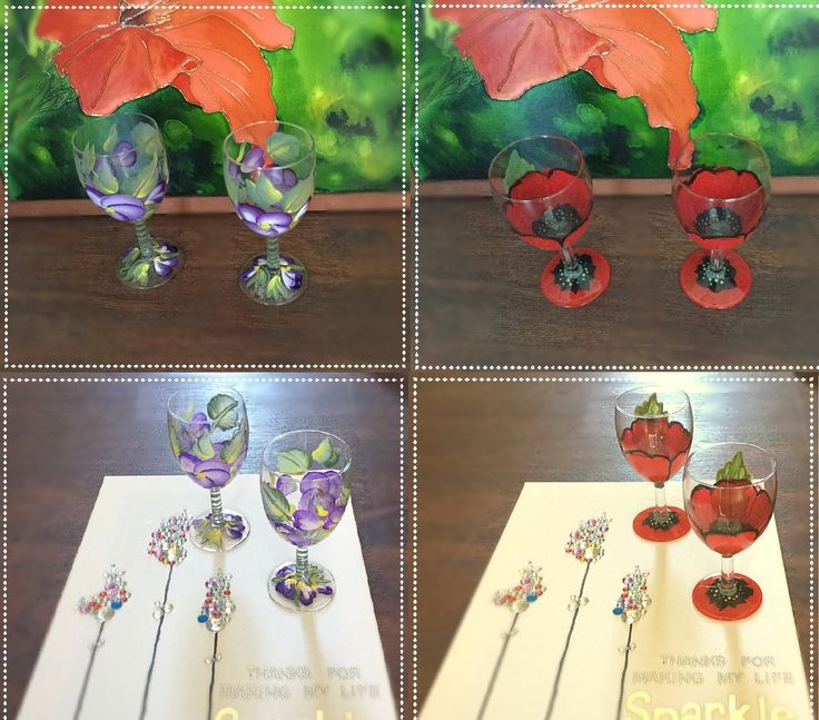 Hand Painted Wine Glasses|Poppy or Violet by ABlueHerronCreation on Etsy  Thanks for stopping by check out more our products here at https://www.etsy.com/ca/shop/ABlueHerronCreation