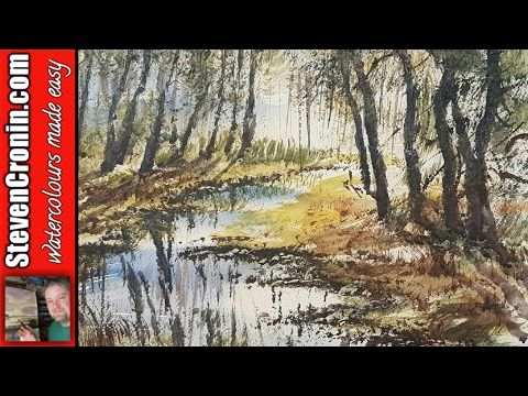 How to paint a simple woodland stream in watercolour from a photograph - YouTube