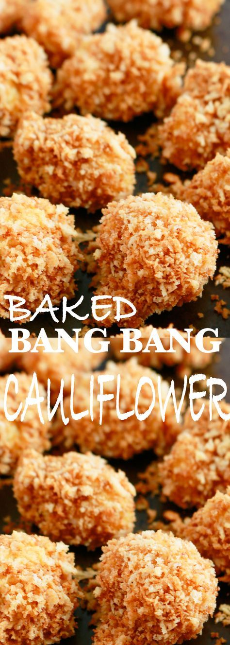 bang bang cauliflower, baked cauliflower, bang bang cauliflower baked, bang bang cauliflower recipes, crispy baked cauliflower bites, crispy breaded cauliflower, baked cauliflower bites, best baked cauliflower recipe, cauliflower recipes