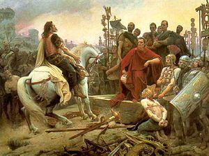 Vercingétorix dépose les armes aux pieds de Jules César à l'issue du siège d'Alésia -  - tableau de Lionel Royer - 1899
