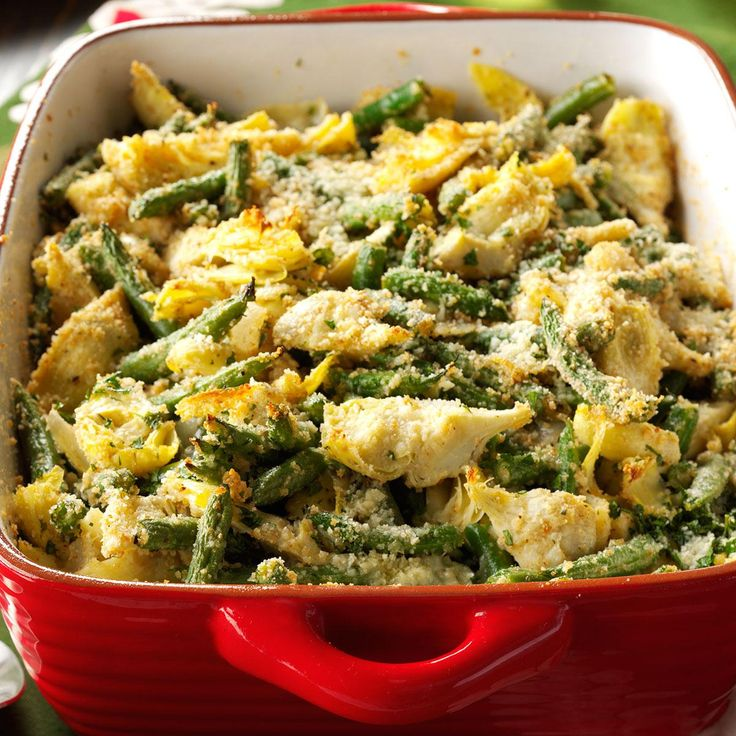 Italian Artichoke-Green Bean Casserole Recipe -My mother and I made changes to a cookbook recipe to create this casserole. We increased the vegetables significantly, and it now receives rave reviews at get-togethers. It's definitely not your average green bean casserole.