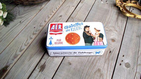 Vintage Biscuit Metal Tin - French Vintage Galettes Tin - Metal Box - French Brittany Cake - Galettes de l'Aër