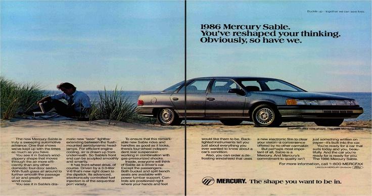 1986 Mercury Sable ad.