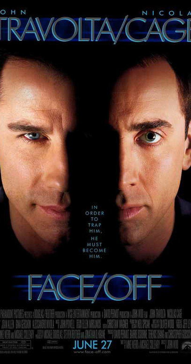 Directed by John Woo.  With John Travolta, Nicolas Cage, Joan Allen, Alessandro Nivola. In order to foil an extortion plot, an FBI agent undergoes a face-transplant surgery and assumes the identity and physical appearance of a ruthless terrorist, but the plan turns from bad to worse when the same criminal impersonates the cop.