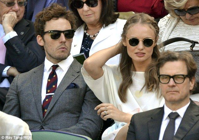 Perfect match: Sam Claflin and wife Laura Haddock enjoyed a day out together watching the athletic display at the All England Tennis Club du...