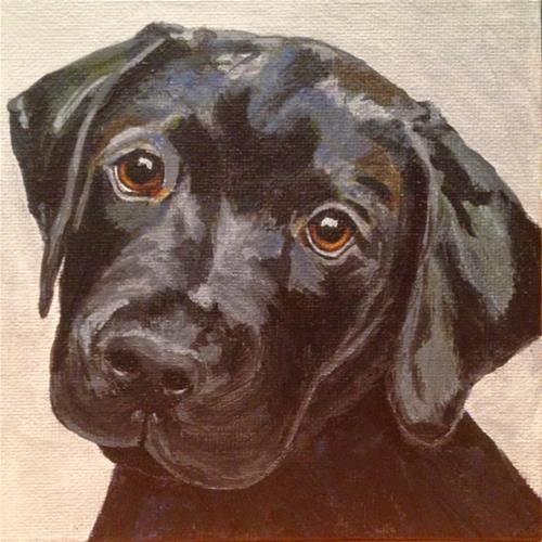 """Daily Paintworks - """"Black Lab Puppy"""" - Original Fine Art for Sale - © Kimberly Minear"""