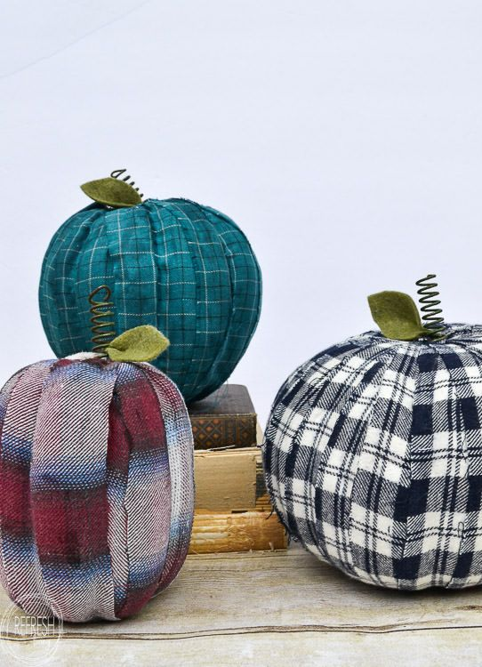 This easy fall craft uses old flannel shirts or fabric and cheap pumpkins to create a new look for the season, without spending any money!