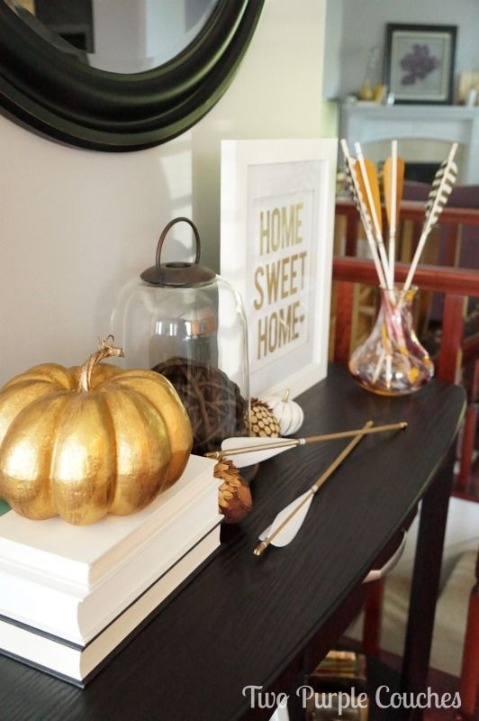 Beautiful modern + natural Fall decor ideas with gold accents