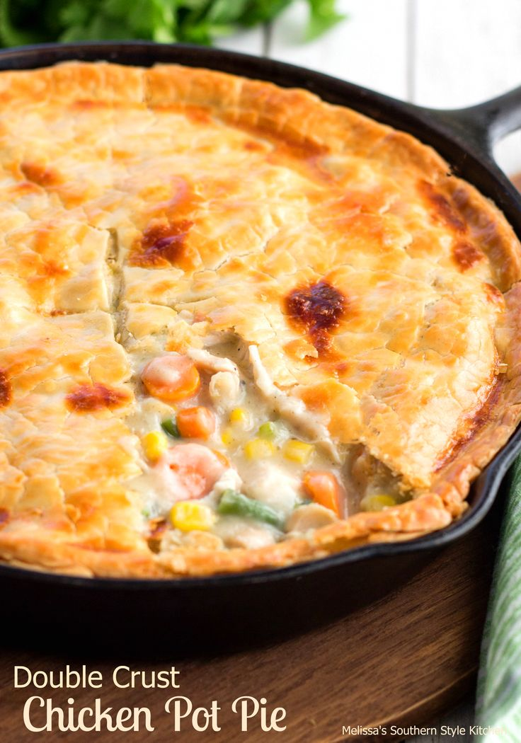 """This Double Crust Chicken Pot Pie is made using one of my favorite kitchen tools, my cast iron skillet. I really don't know what I would do without my cast iron skillets they are my """"go to"""" when it comes to pans in my kitchen. They hold and distribute the heat evenly making the bottom...Read More »"""