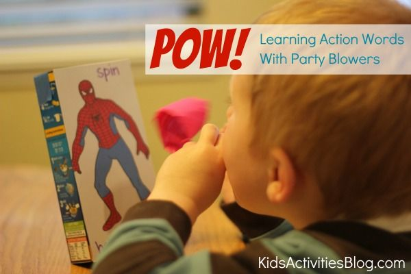Learning action words with party blowers- post over at @QuirkyMomma