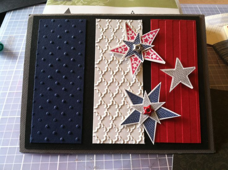 Fourth of July card by Stacy bergstrom—like the use of three different embossing folders!