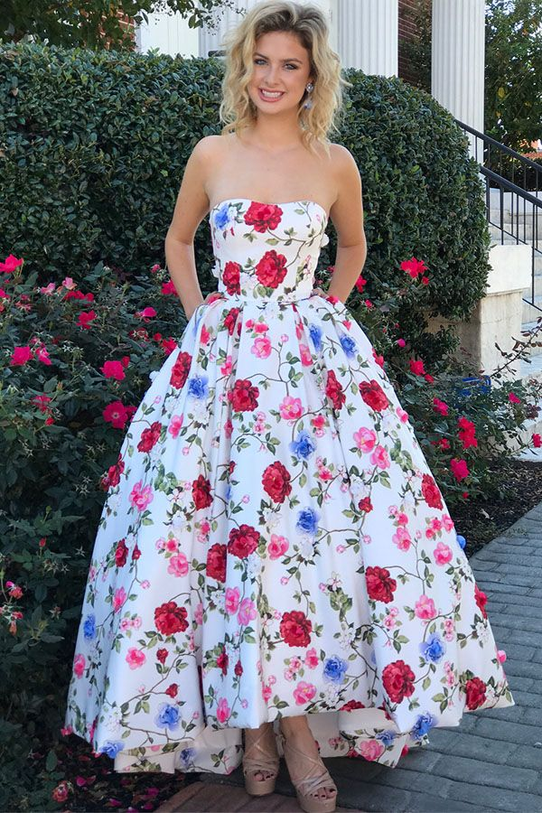 f07bc7e35cff Gorgeous Strapless Floral Long Prom Dress Graduation Dress ...