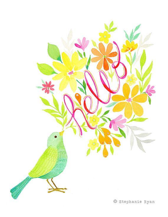 Qualité darchivage papier reproduction de mon aquarelle art peinture, Bonjour Bird.    Cette pièce est imprimée sur du papier mat archival belle haute qualité avec des encres darchivage.    Tous les tirages arrivent scellé violoncelle gainée dans une enveloppe en carton protecteur.    * filigrane napparaîtra pas sur limpression.    Stephanie Ryan Art  Aquarelle de douces fleurs, les oiseaux et les papillons inspirée par la nature avec des mots inspirants et réfléchies tissé tout au long…