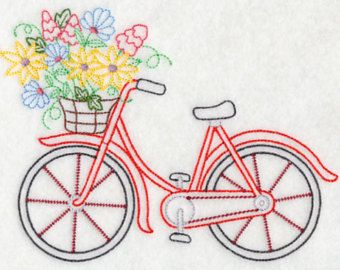 Bicycle in Bloom Embroidered Flour Sack Hand/Dish Towel