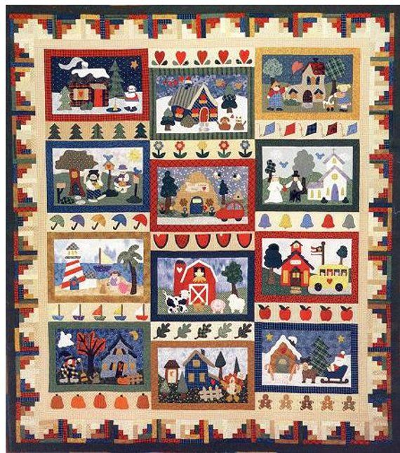 """New Applique Quilt Pattern SOMEWHERE IN TIME  55/"""" x 55/"""""""