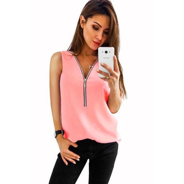 Plus Size S-3Xl Chiffon Tank Top Women Zipper Blouse Summer V Neck Cami Camisole Loose Top Women Tops Sleeveless DN07792 L