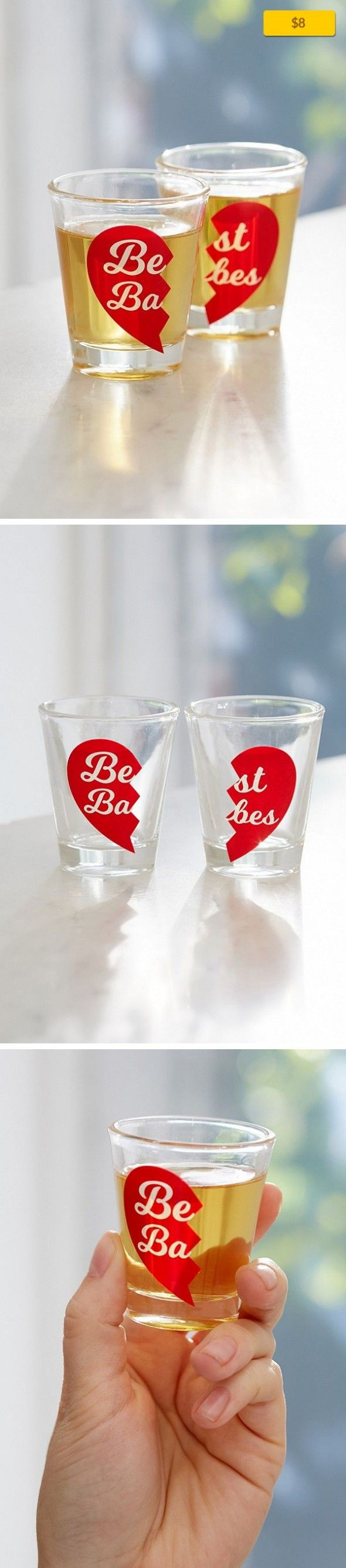 """Best Babes Shot Glass Set Apartment, Kitchen + Bar   Really solidify your best babe-dom with this set of coordinating shot glasses. Food safe; not suitable for the dishwasher, oven or microwave. Content + Care - Set of 2 - Glass - Hand wash - Imported Size - 1.5 oz - Dimensions: 2.5""""h"""