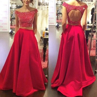 2017 Custom Made Two Pieces Prom Dress,Beading Evening Dress, Sexy Back Hole Party Gown,Off The Shoulder Pegeant Dress,High Quality