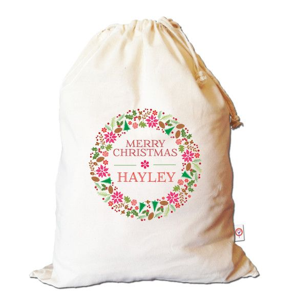 Floral wreath personalised Santa sack | hardtofind.