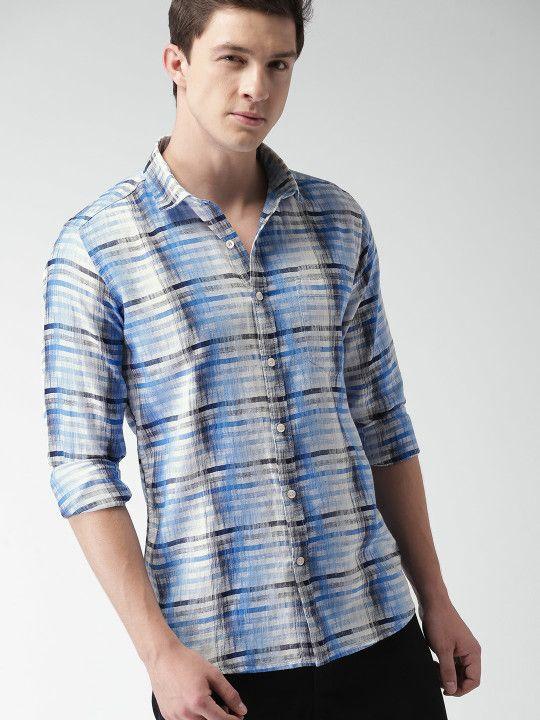 17a9985eae2 Mast & Harbour Men Blue & White Slim Fit Striped Casual Shirt ...