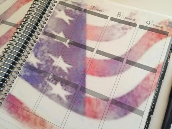 Fourth of July Planner Sticker American Flag  transparent