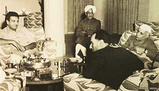 Maharaja Shri Hanwant Singh (on the left) meeting Jawaharlal Nehru in Delhi in 1951. Maharaja Rana of Dholpur in turban sits at the back, and Raja Anand Chand has his back to the camera. Founder of Pakistan Muhammad Ali Jinnah lobbied the new Maharaja with a view to annexing Jodhpur. The intervention of his mother the Rajmata, Mountbatten and Sardar Vallabhabhai Patel persuaded him to support a united India.
