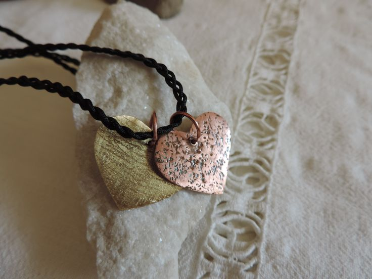 Pendant. Two hears, bronze, copper. Soon will be listed on my etsy store
